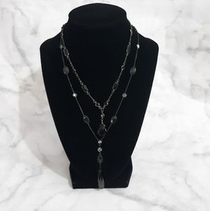 2 black glass stone necklaces